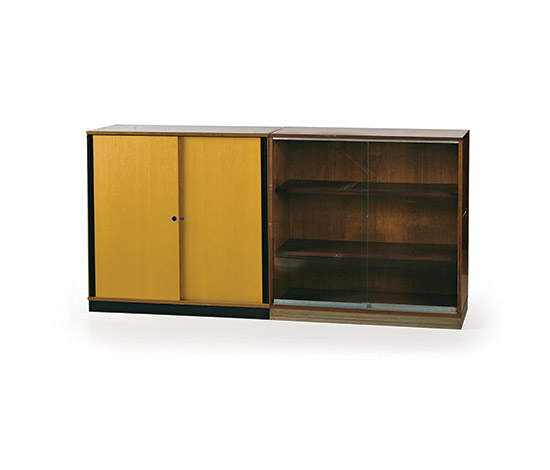 Pair of office cabinets, one with glass doors