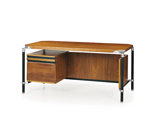 Rosewood and metal office desk