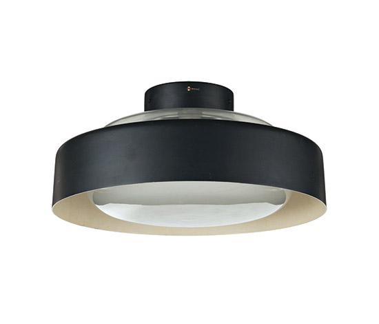 Aluminum and glass ceiling lamp, mod n° 3053