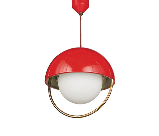 Wannenes Art Auctions-Metal and glass ceiling lamp, adjustable