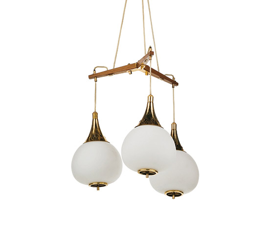 Teak, brass and glass ceiling lamp