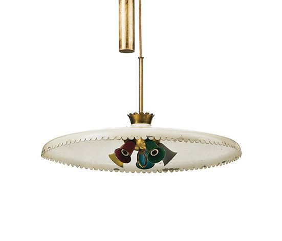 Brass and aluminum ceiling lamp de Wannenes Art Auctions