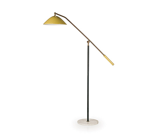 Brass and aluminum floor lamp