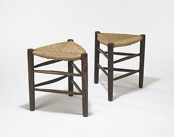 Triangular tabourets, pair