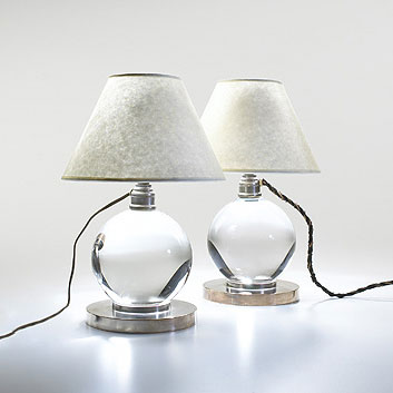 Wright-Crystal Ball lamps, pair