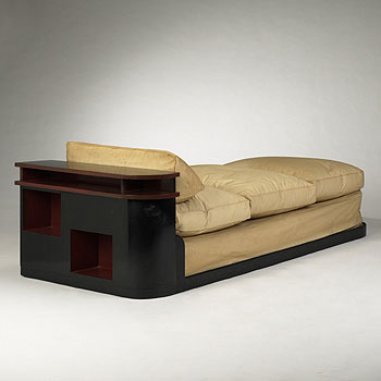 Daybed with attached bookcase