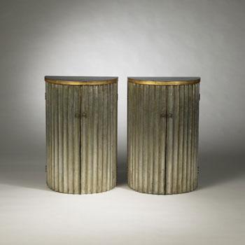 Demilune cabinets, pair