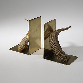 Horn bookends, pair