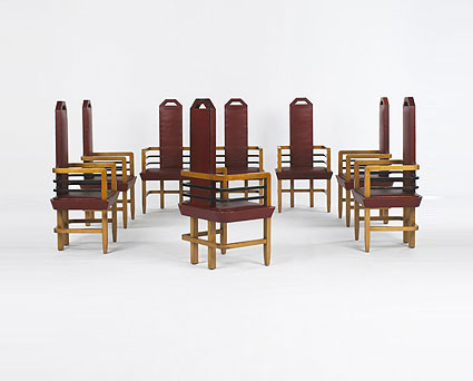 Art Moderne dining chairs, set of eight