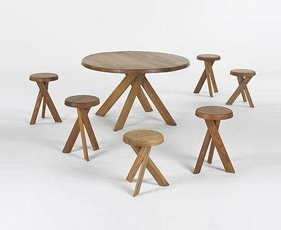 Dining table and six stools