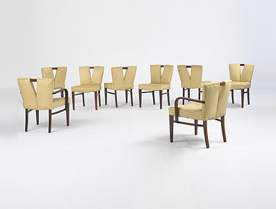 Y-back dining chairs, set of eight