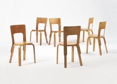 Dining chairs, model #66, set of six