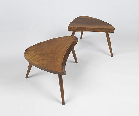 Plank side tables, pair