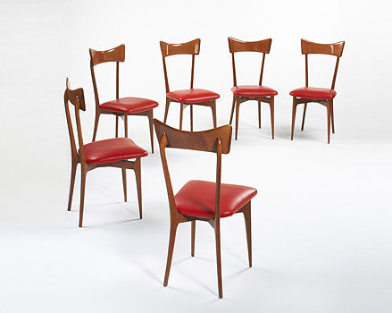 Dining chairs, set of six