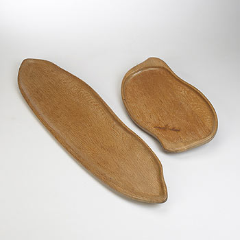 Wood trays, pair