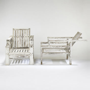 Adjustable lounge chairs, pair