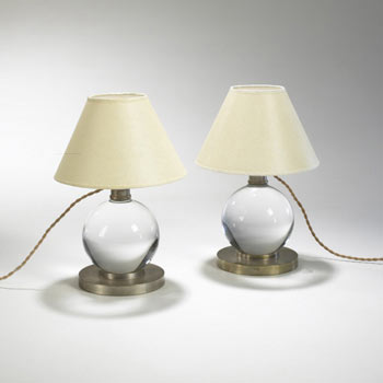 Crystal Ball lamps, pair by Wright