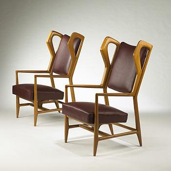 Triennale armchairs, pair