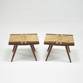 Grass-Seated stools, pair