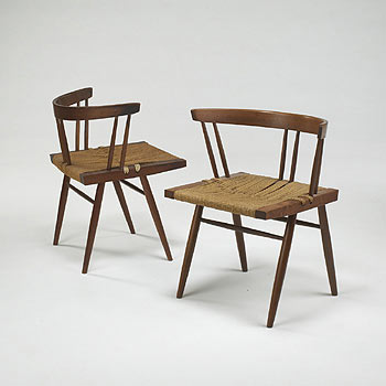 Grass-Seated chairs, pair