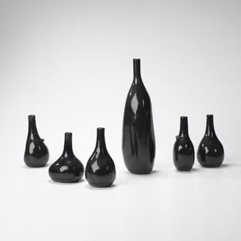 Black bottles, set of six
