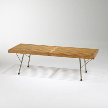 Slat bench with folding legs