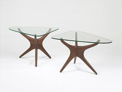 Tri-Symmetric end tables, pair