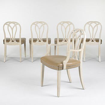 Dining chairs, set of ten