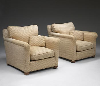 Upholstered armchairs, pair