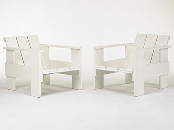 Crate chairs, pair