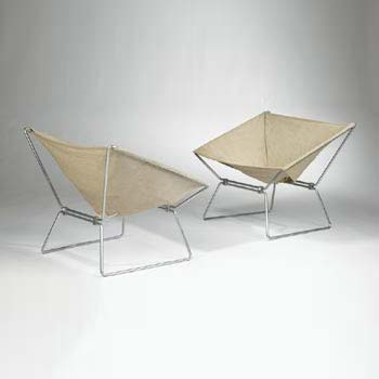 Ribbon chairs, pair
