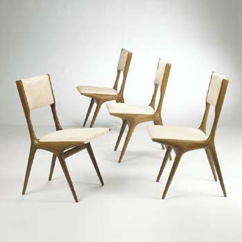 Dining chairs, set of four