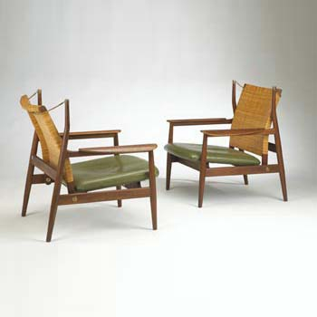 Adjustable back lounge chairs, pair