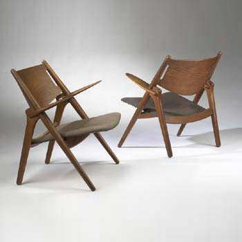 Sawback lounge chairs, pair