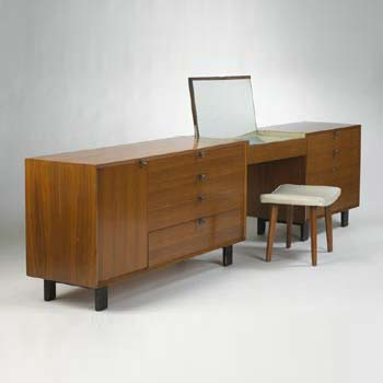 Suspended vanity and chests with bench
