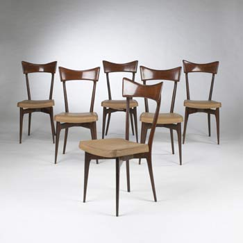 Dining chairs, set of six by Wright