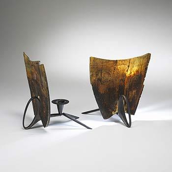 Horn candlesticks, pair