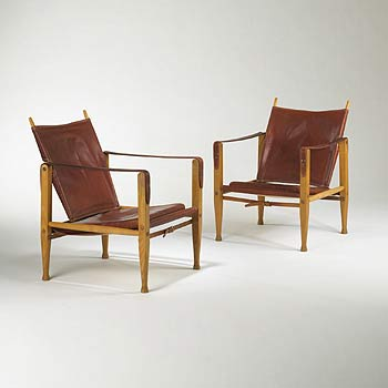 Safari chairs, pair