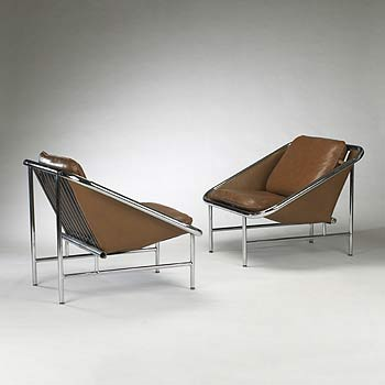 Sling chairs, pair