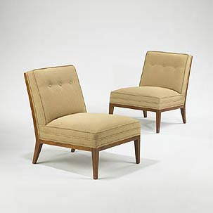 Slipper chairs, pair