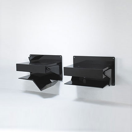 Pair of wall-mounted nightstands