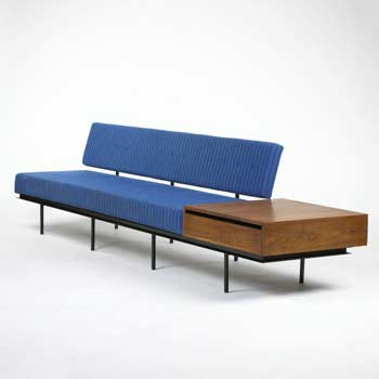 Sofa with attached table