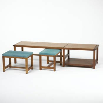 Long table with stools de Wright