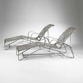 Outdoor lounge chairs, pair
