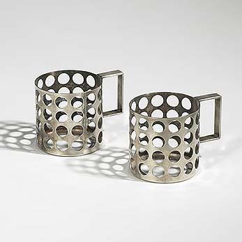 Perforated cup holders, pair