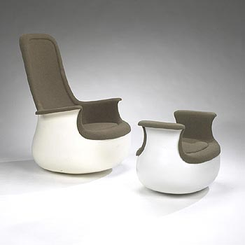 Culbuto chair/ottoman by Wright