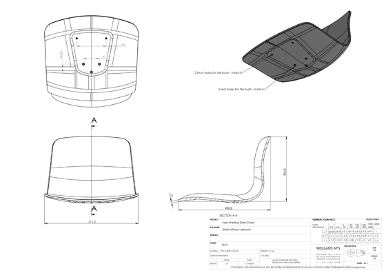 Chair Cad Drawing Drawing of Chair Shell For Hee