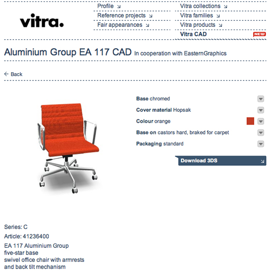 Architonic launches pilot project with EasternGraphics, Vitra and Bene: CAD files you can configure online and then download | Product Innovations
