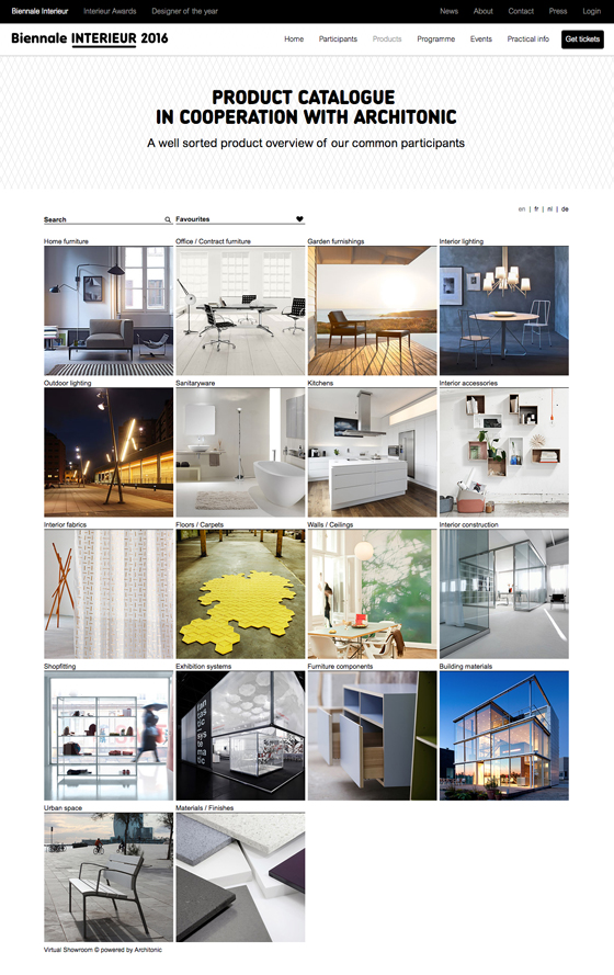 Biennale interieur x architonic neues online produkt for Interieur online