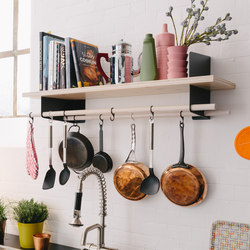 Atelier wall shelves and coat-rack